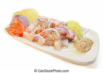 Ceviche - Peruvian food ceviche Raw fish marinated on lime...