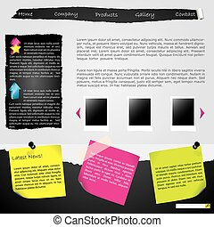 Torn website template with labels