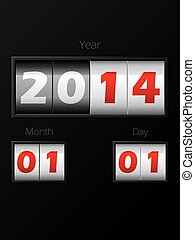 2014 date counter showing year month day