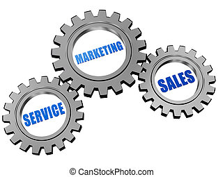 service, marketing, sales in silver grey gears - service,...