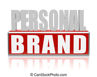 personal brand in blue white banner - letters and block -...