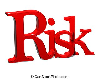 3D Word Risk on white background