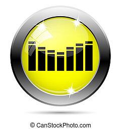 Sound icon - Metallic round glossy icon with black design on...