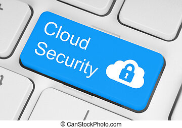 Cloud computing security concept on blue keyboard button...