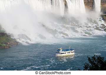 tourboat at niagara falls - The Maid of the Mist tour boat...