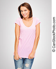 woman in blank pink t-shirt - t-shirt design concept -...