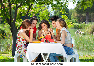 Gossip at the park. Gossip at the park during a picnic