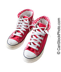 old red  sneaker shoes isolated white