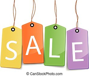 set of colourful sale tag labels