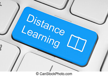 Blue distance learning button on white keyboard