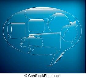 Set of glass speech bubbles