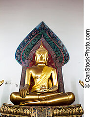 Big buddha statue beautiful in the church Bangkok Thailand