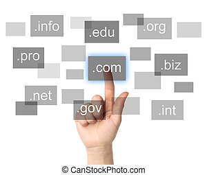 Hand pushing virtual domain name on white background,...