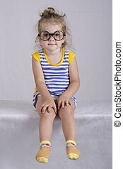 Two-year-old girl in funny glasses - Studio, two-year-old...