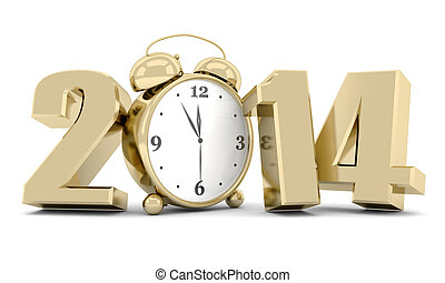 happy new year 2014 Illustrations 3d on a white background