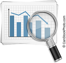 Bar Graph - Bar graph with magnifying glass, vector eps10...