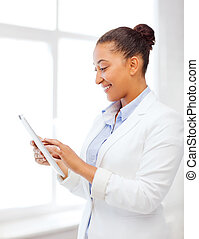 businesswoman with tablet pc in office - office, business,...
