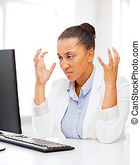 stressed african woman with computer - business, office,...