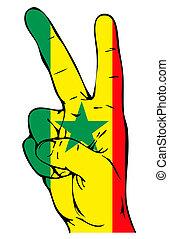 sénégalais, drapeau, paix, signe