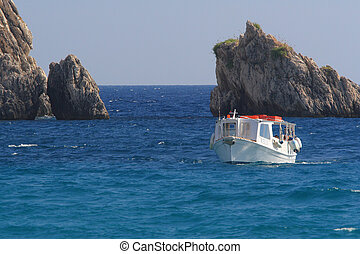 Speedboat in the Ionian sea