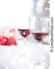 wine glasses on the table in restaurant - love, romance,...
