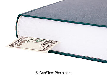 Closed book with a bookmark $ 100 on the right