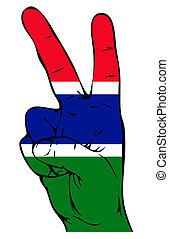 drapeau, paix, Gambien, signe