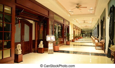 The entrance in restaurant and interior of luxury hotel with...