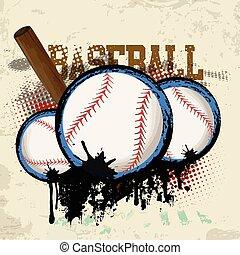 Baseballs and baseball bat poster