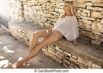 Sexy girl with long pretty legs - Sexy woman with long...