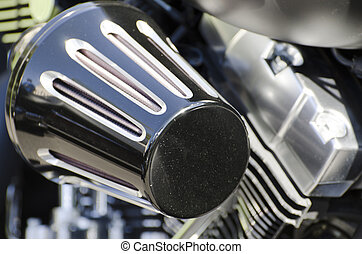 Motorcycle engine with air filter in chrome