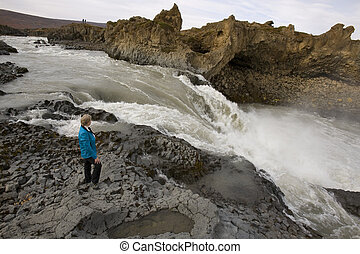 Rapids near Godafoss Waterfall - Iceland - Rapids near...