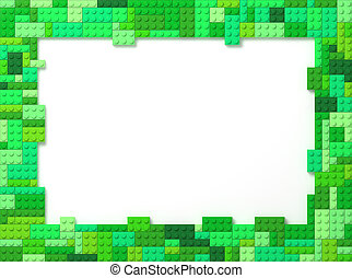 Toy Bricks Picture Frame - Green - Green Tone Toy Bricks...