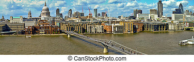 Millennium Bridge over Thames River in London panorama