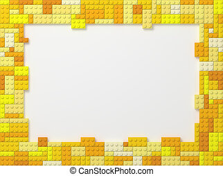 Toy Bricks Picture Frame - Yellow - Yellow Tone Toy Bricks...