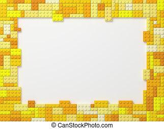 Toy Bricks Picture Frame - Yellow - Yellow Tone Toy Bricks...