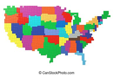 Toy Bricks American Map - American map made with toy bricks...