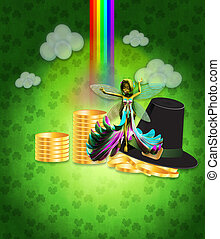 St Patricks day design with fairy - Illustration of St...