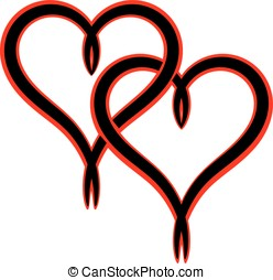 Intertwined Valentine heart - Two black intertwined...