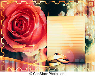 Wedding card with rose - Golden wedding rings and beautiful...