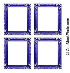 Four purple  picture frames