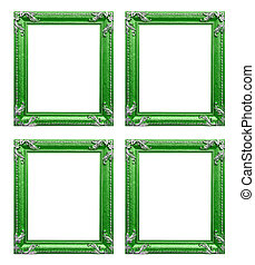 Four green  picture frames