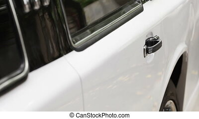 Opening the door cars - Man in the white suit opens the door...