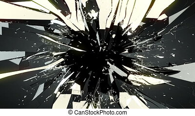 Cracked and Shattered black glass with slow motion Alpha is...
