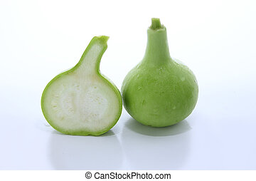 Bottle gourd on white background - Bottle gourd on white...