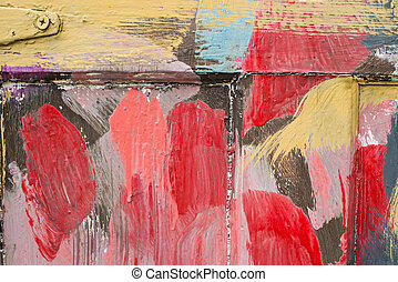 Colorful painted wood fence detail. Texture. Background. -...