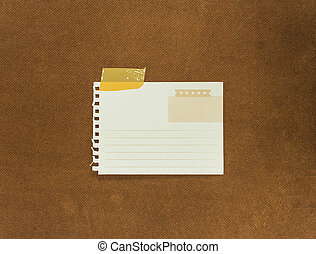 Grunge note papers over cork wood background - Grunge note...
