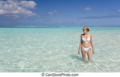 Tahiti - French Polynesia - South Pacific - Teenage girl in...