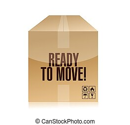 ready to move box illustration design over a white...