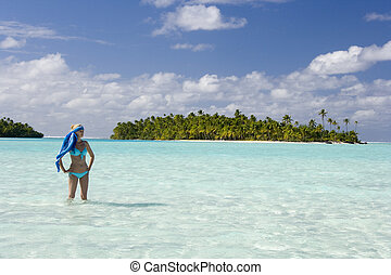 Tropical Vacation - Fiji - South Pacific - Teenage girl in a...
